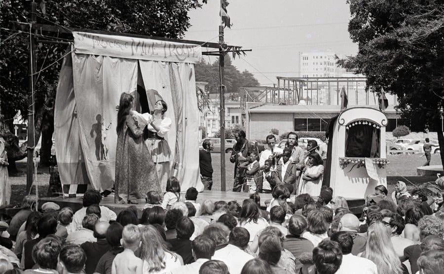 The San Francisco Mime troupe entertains. A routine feature of life in Haight-Ashbury is outdoor theatre.