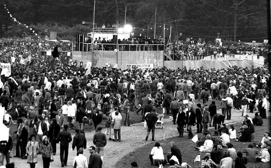 An early Bay Area anti-Vietnam War rally in Golden Gate Park.