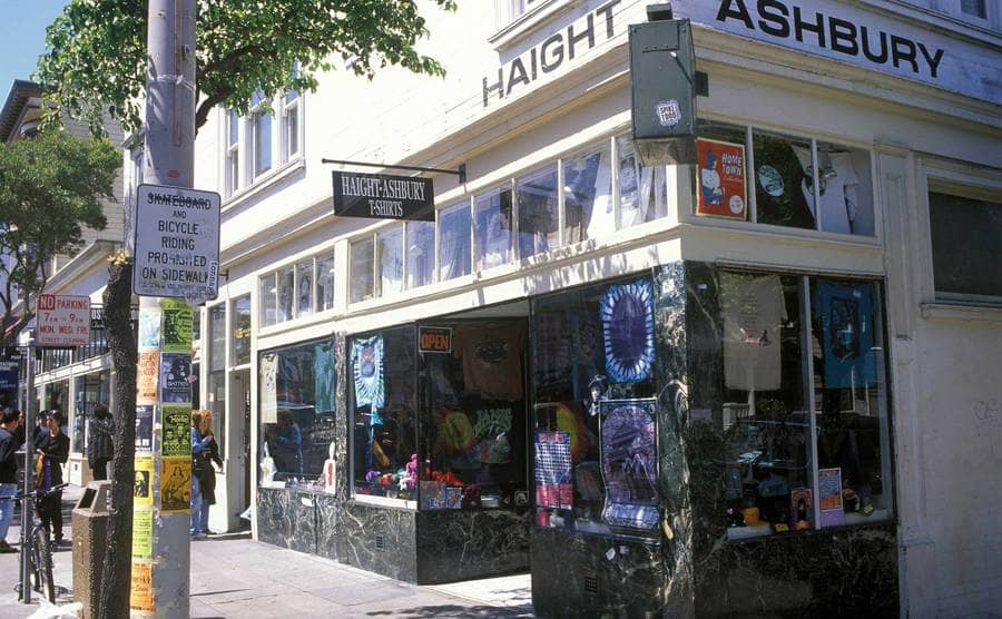 Street view of the stores on Haight-Ashbury.