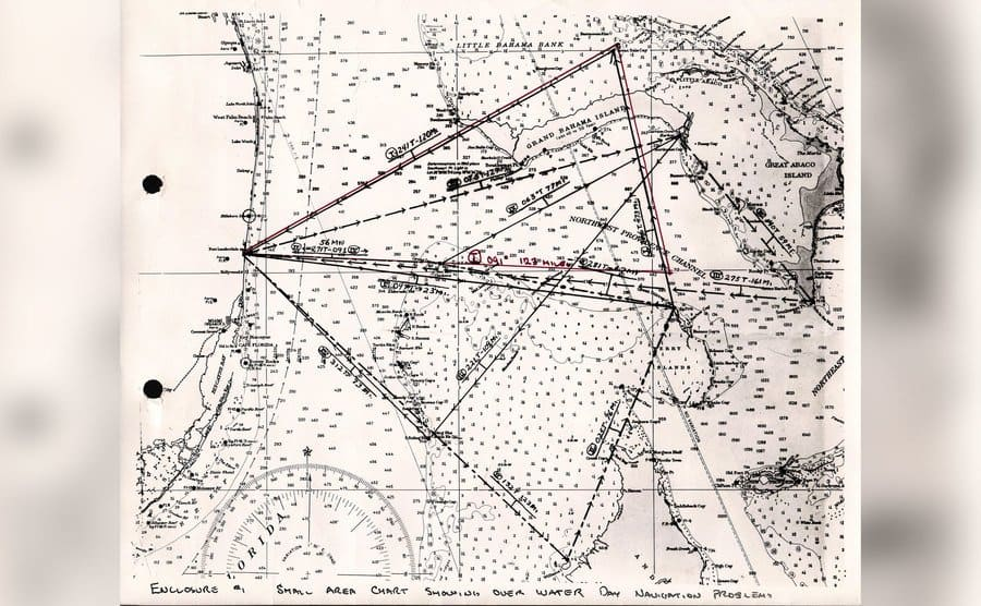 A map of flight 19's flight plan over the Bermuda Triangle.