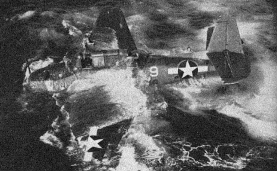 A military plane that has crashed into the ocean.