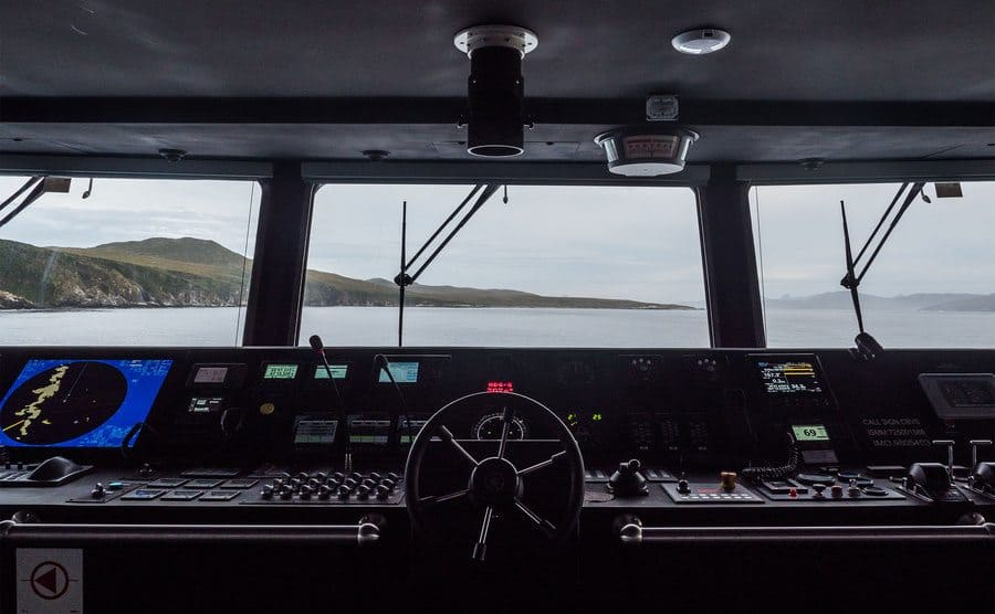 The view from inside the ship's bridge.