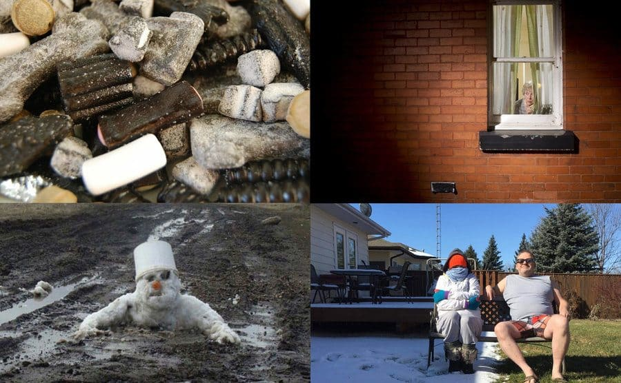 Salted black licorice / A grandma looking out her window / A snowman melting / A woman sitting beside a man.