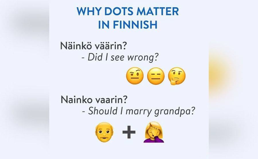 Examples of two sentences in Finnish with dots and without showing the big difference they make in meaning.