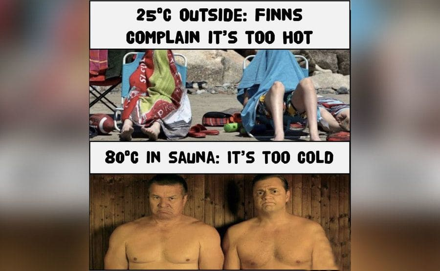A photo of people hiding from the sun by coving themselves with towels over a photo of two men in a sauna looking rather uncomfortable.