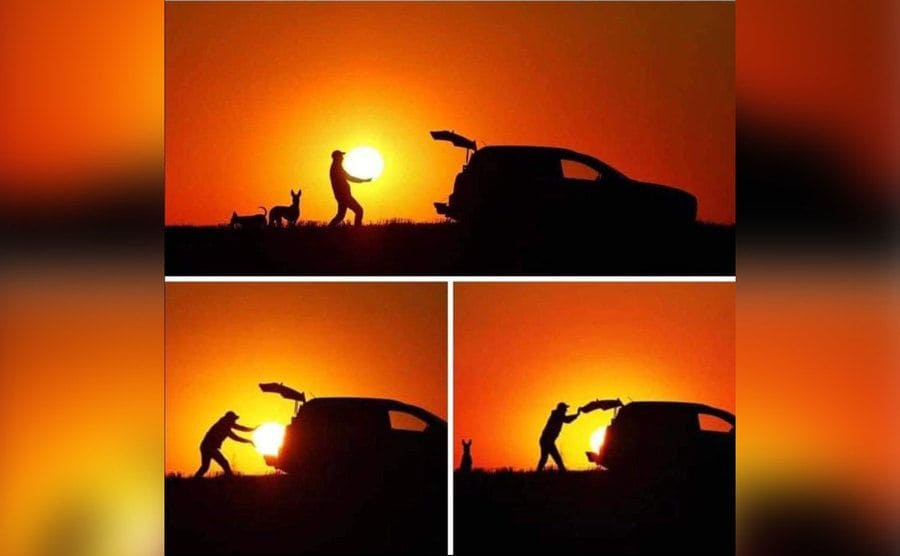Photos of a man appearing to grab the sun and put it into his car.
