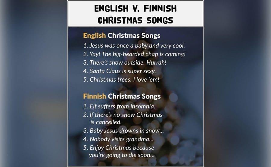 A list of English vs. Finnish Christmas songs.