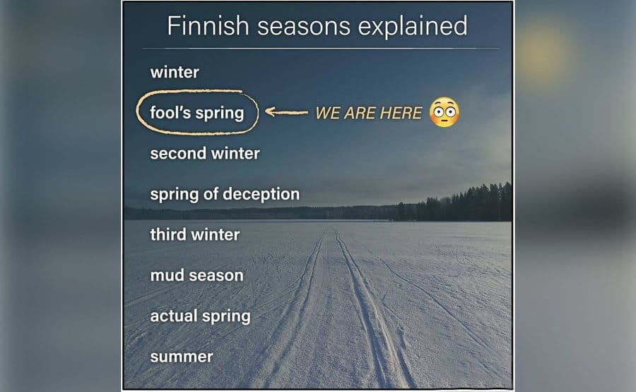 A humorous list of the seasons in Finland