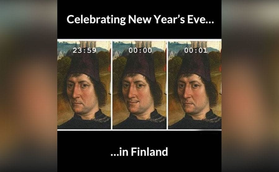 A meme of an old painting of a man smiling only briefly as the clock strikes midnight on New Years Eve.