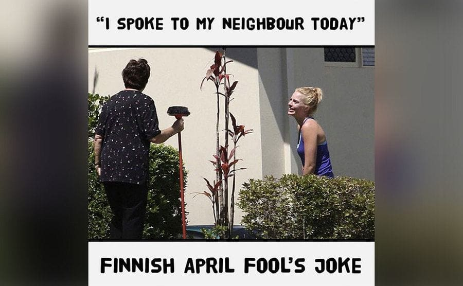 A meme of a woman meeting her neighbor and looking rather uncomfortable.