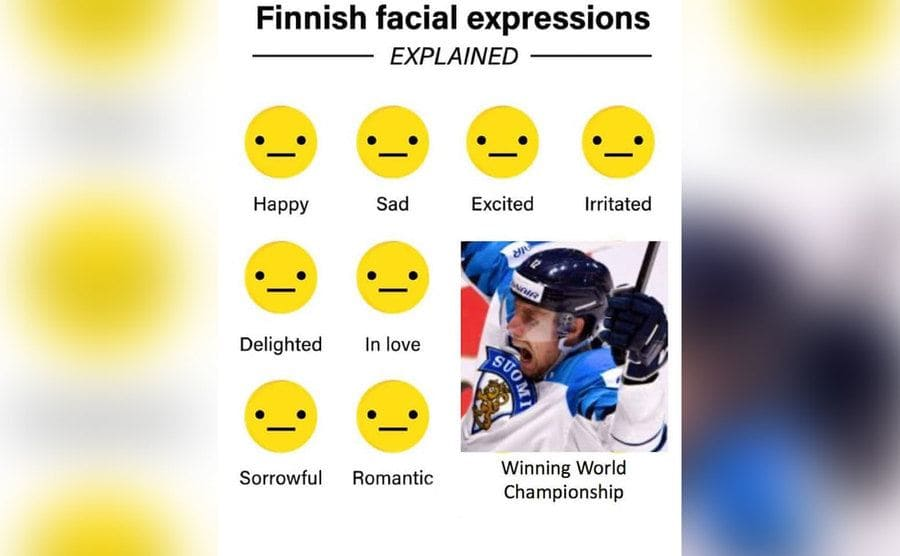 Emojies showing the same blank expression for different emotions along with a man freaking out after winning a hockey game
