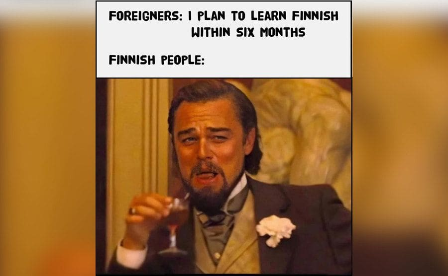 A meme making fun of people who think they can learn Finnish in just six months.