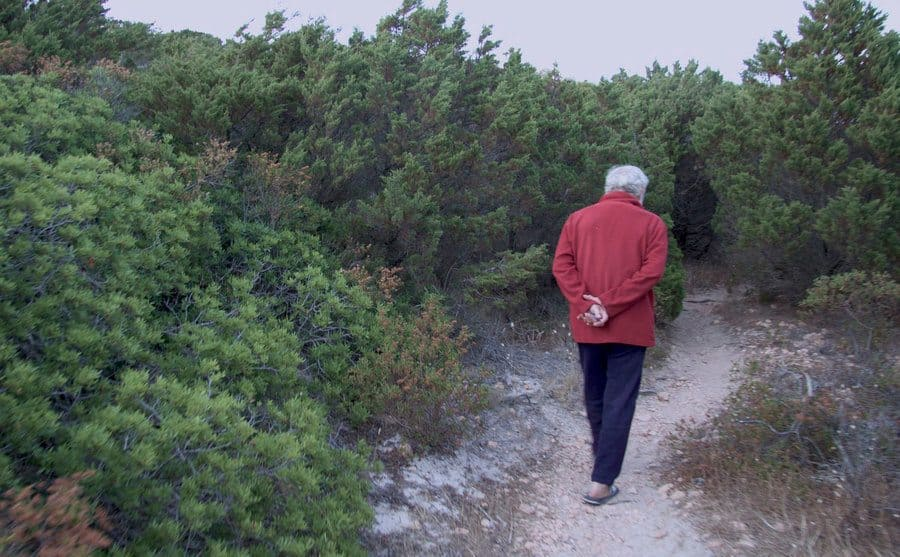 Mauro Morandi is walking with his hands behind his back through a dirt path on the island.