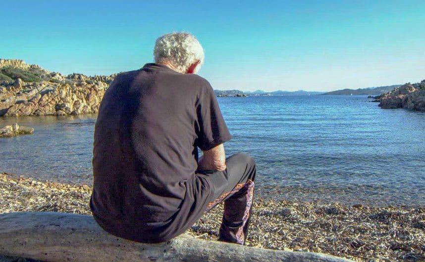 Morandi is sitting on a log on the beach.