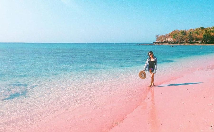 A woman is walking along the pink beach.