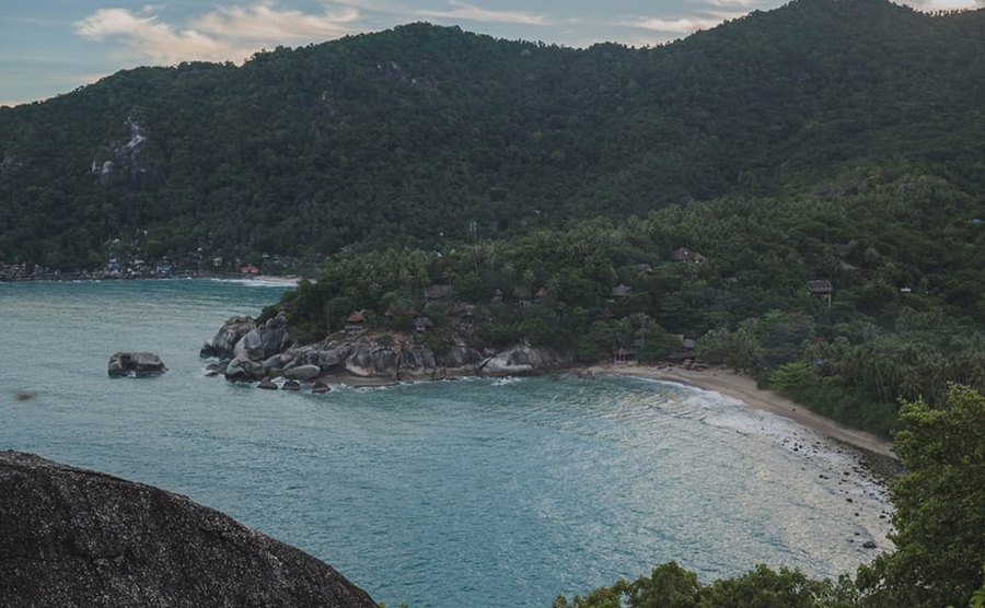 A panoramic view from the secret beach.