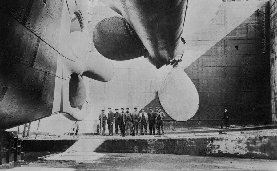The Titanic is about to be launched.