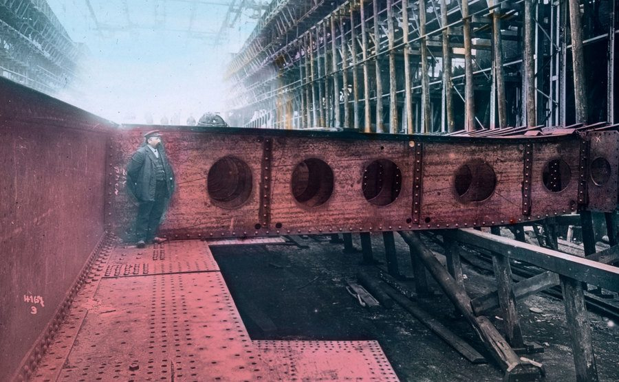 Cross braces for the inner workings of the Titanic.