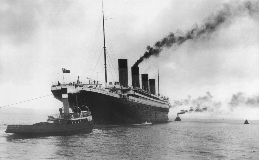 Photographs of the Titanic during sea trials.