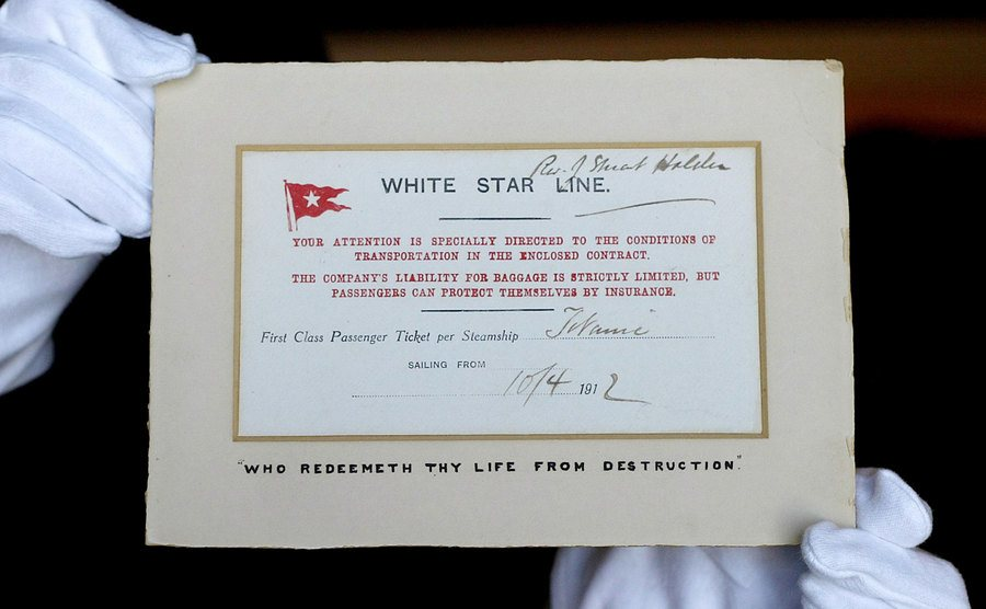 A first-class ticket from the Titanic.