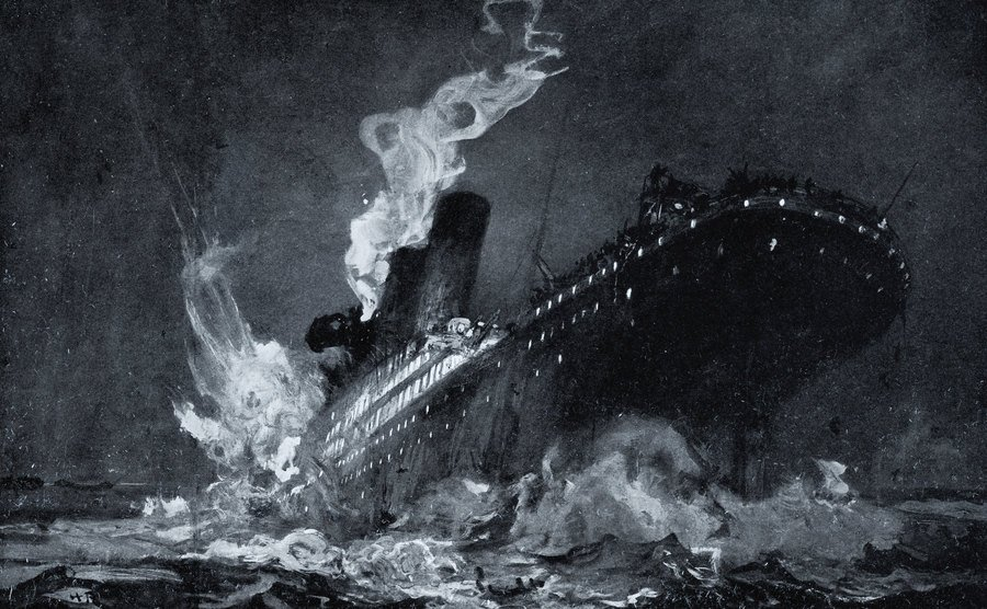 The Titanic starts to sink.