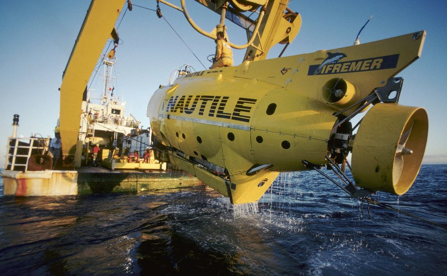 A view of the submarine used to go under water.