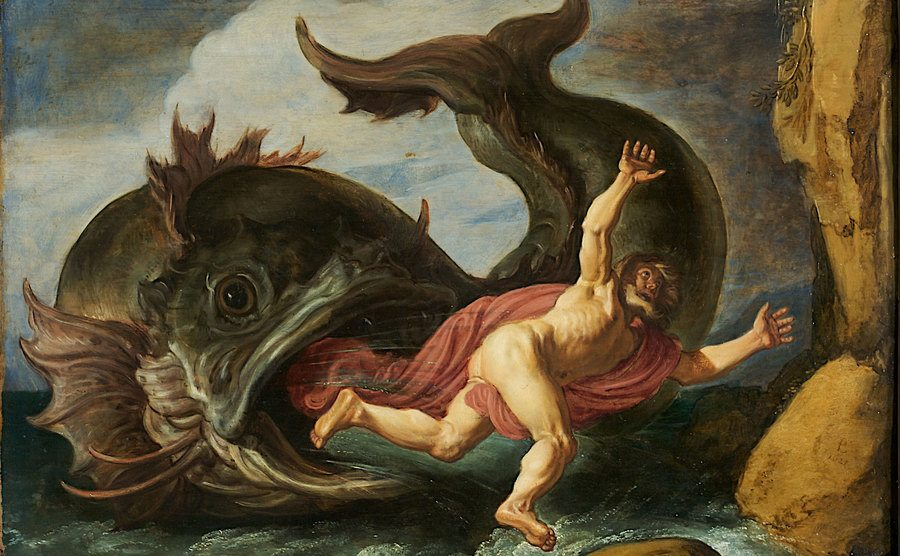 The biblical image of Jonah and the whale.