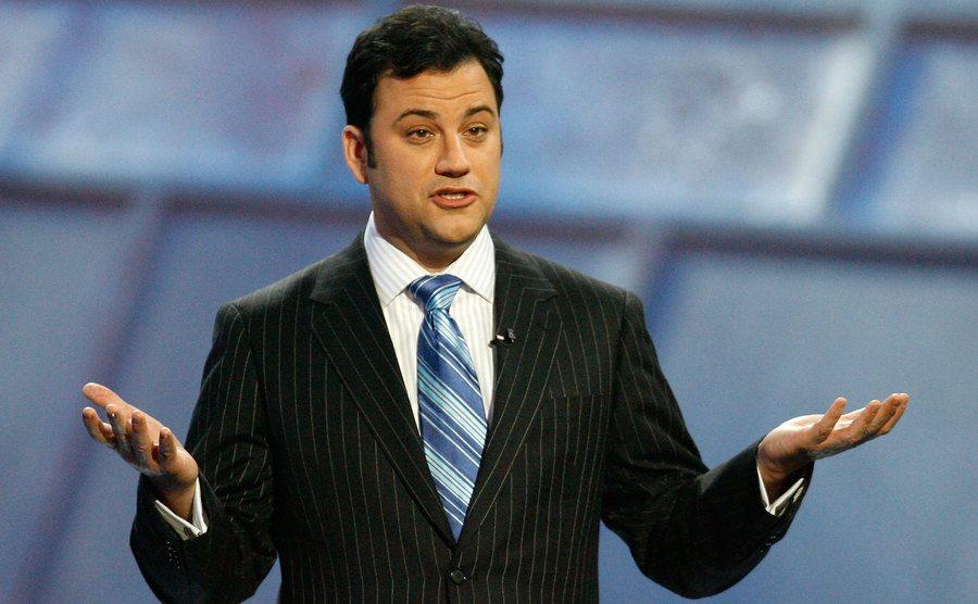 Jimmy Kimmel speaks on stage.