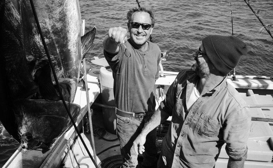 Michael Packard and Josiah after fishing a tuna fish.