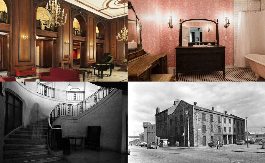 The hotel's interior / Room 311's bathroom / A ghost hovering up the stairs / The Read House Hotel in the 19th century.