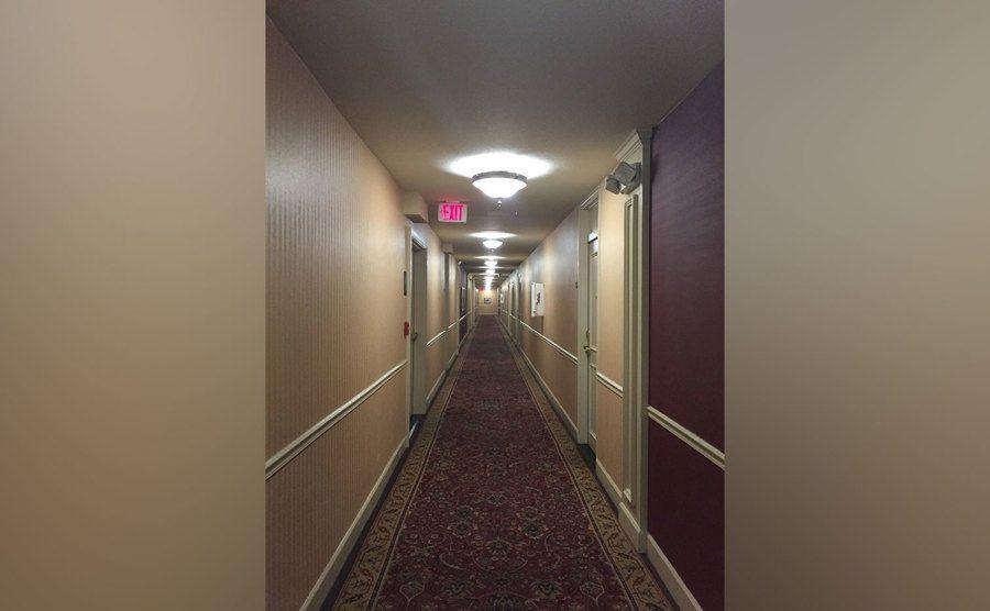 The hallway leading to room 311.