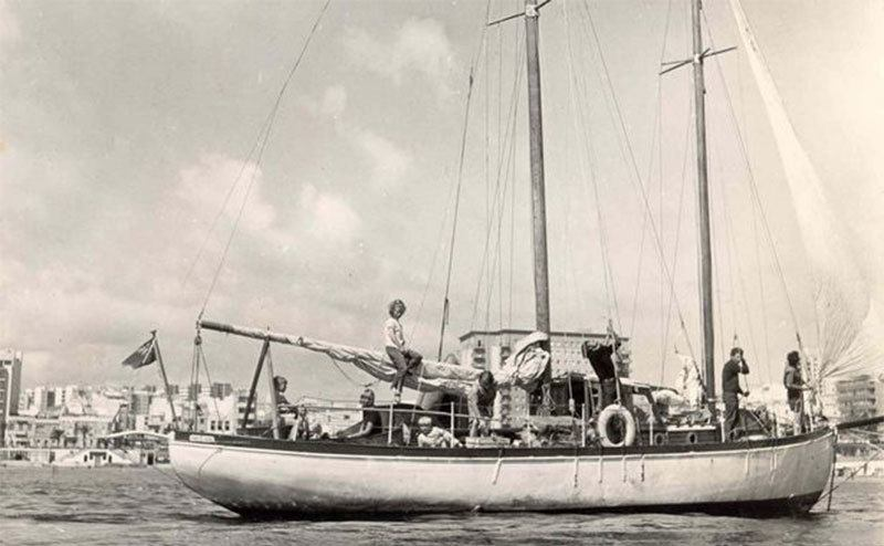A view of the boat that took the Robertsons around the world.