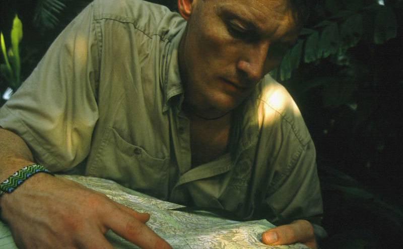 Benedict Allen is attempting to understand his surroundings.