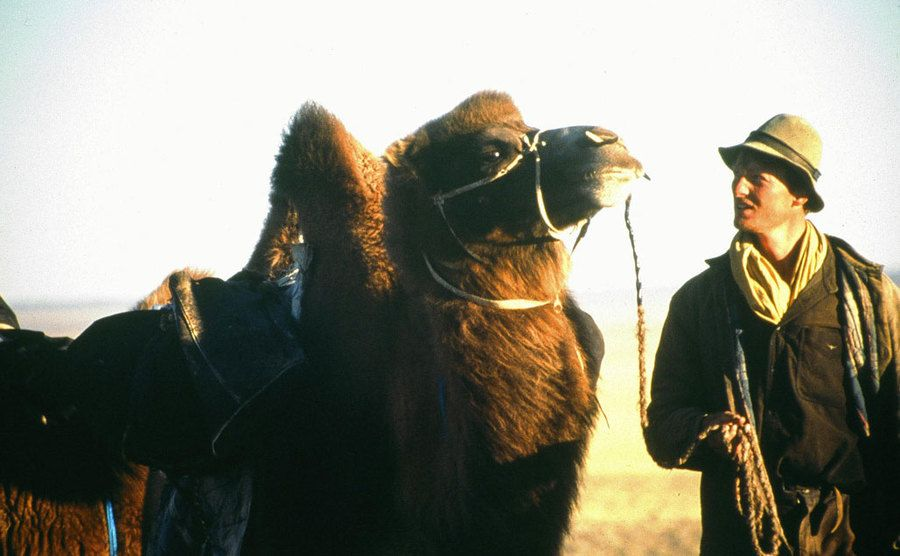 Benedict Allen stands beside his camel while on a trip in the desert.