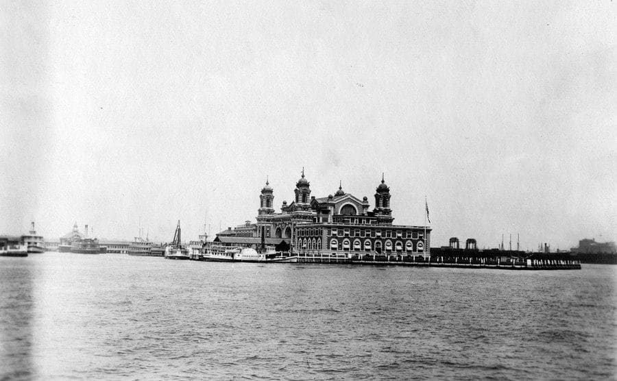 A view of the immigration station from the sea.