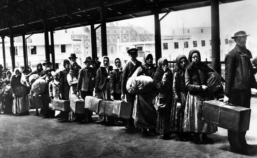 Immigrants on Ellis Island reception center.