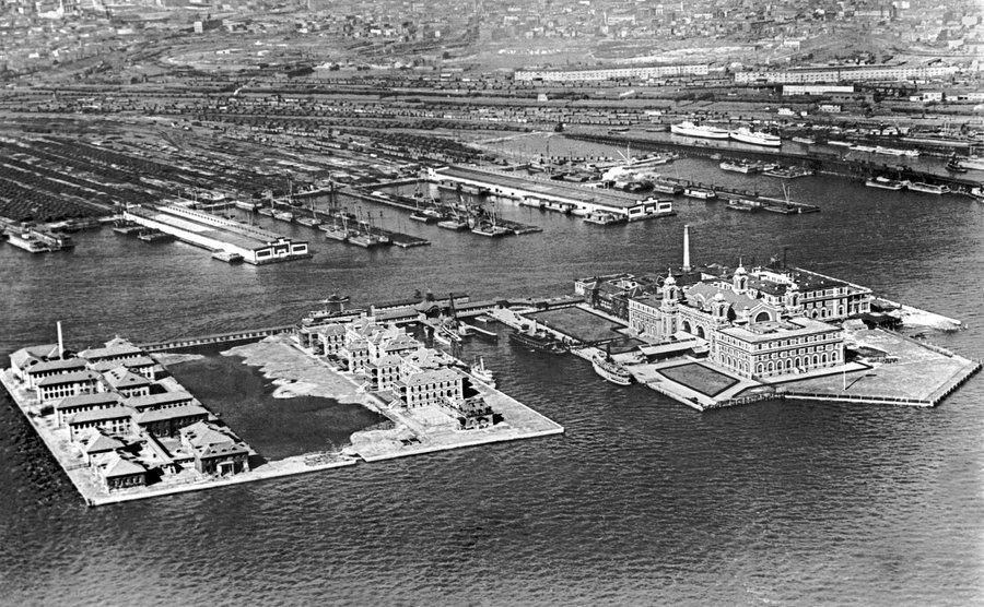An aerial view of Ellis Island.