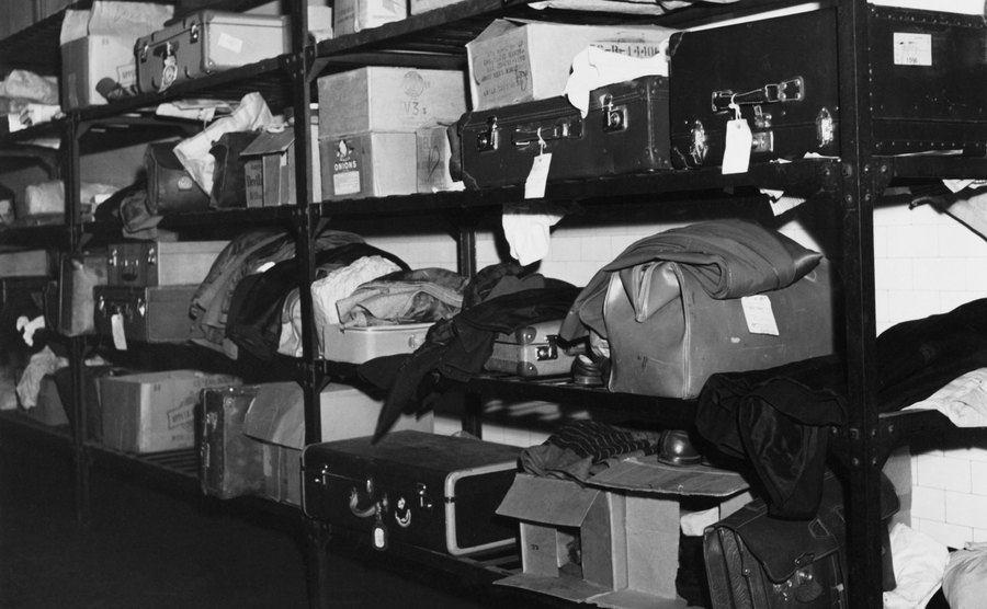 A luggage rack on Ellis Island.