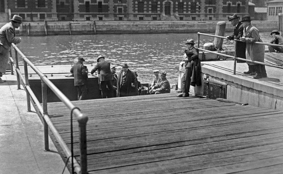 Deportees are leaving Ellis Island.
