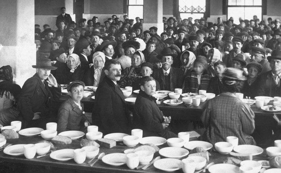A photo of the dining room for detained immigrants.