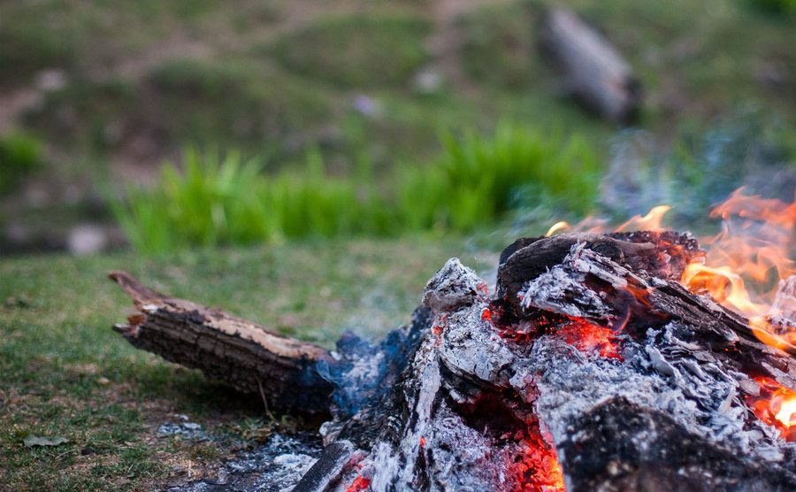 A picture of a bonfire in the forest.