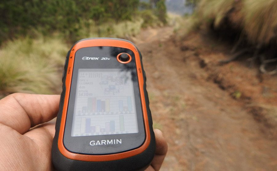A photo of a navigation device in use.