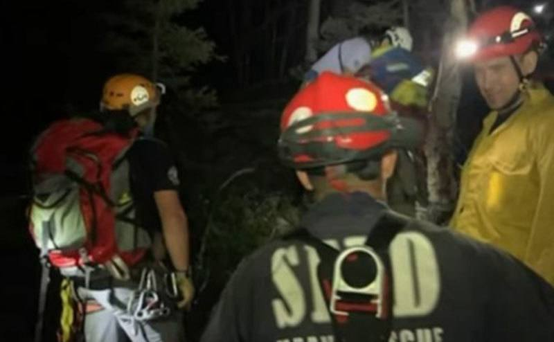 A photo of the rescue team at night.